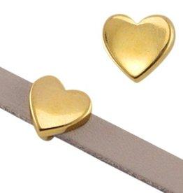 DQ metaal schuiver goud hart 10 mm (1x)