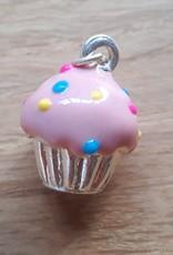 Cupcakebedel verzilverd roze (1x)