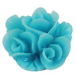 Cabochon turquoise bloem (6x)
