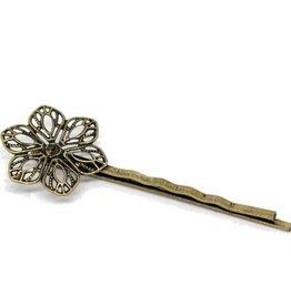 Haarspeldjes brons bloem