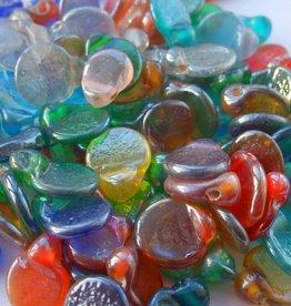 Glaskralenmix platte druppel (per streng)