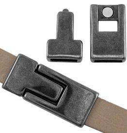 DQ magneetsluiting antraciet zilver voor plat leer (1x)