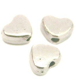 Hartjeskraal 6 mm glimmend zilverkleurig (12x)