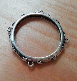 Dichte antiek zilveren bewerkte ring XL (5x)
