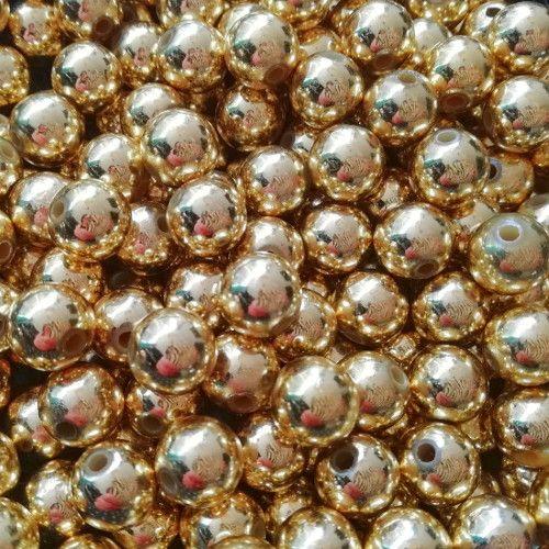 Ronde kralen goudkleurig metallook 10 mm (15x)
