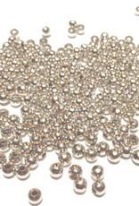 Ronde metalen tussenkraal verzilverd 2 mm (75x)