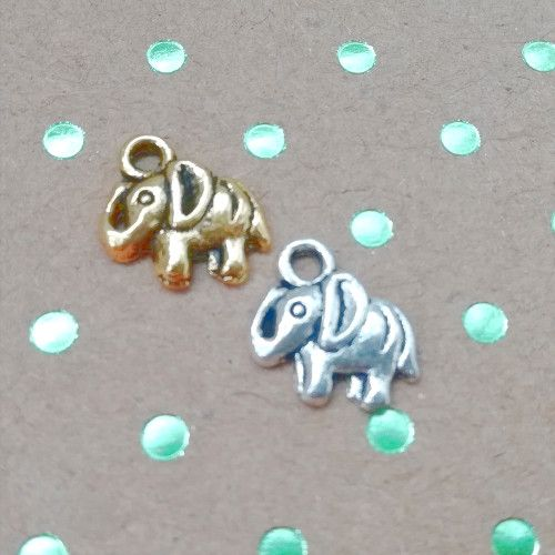 Bedel olifant mini goud of zilver (2x)