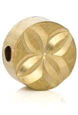 Ronde platte goudkleurige tussenkraal 6 mm (3x)