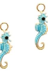 Bedel zeepaardje lichtblauw goud (1x)