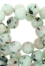 Ronde agaatkraal lichtgroen/turquoise 4 mm (15x)