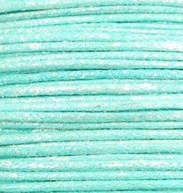 Waxkoord katoen 0.5 mm metallic turquoise blauw  (5m)
