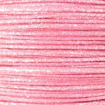 Waxkoord katoen 0.5 mm metallic roze (5m)