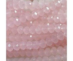 15x Roze Bank : Glaskraal opaal roze facet of streng de maan is rond