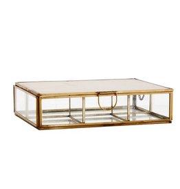 Madame Stoltz Glazen doos met vakken en spiegeldeksel