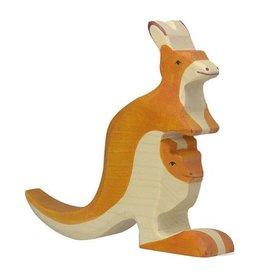 Holztiger Houten kangoeroe met jong
