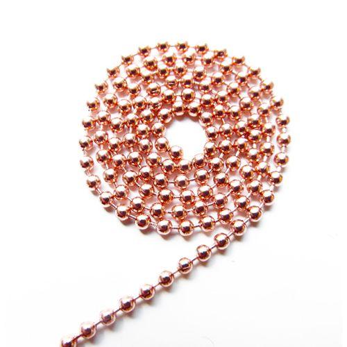 Ball chain rose goud 3 mm