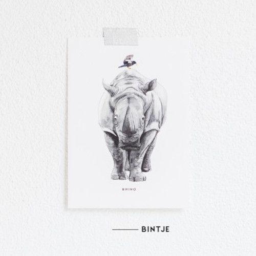 Meesie & Bintje Kaart neushoorn