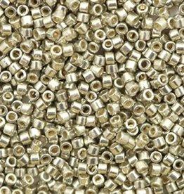 Miyuki delica's 11/0 duracoat glanzend zilver/tin (5gram)