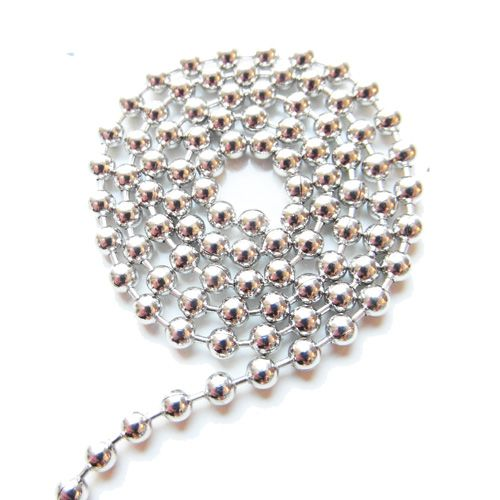 Ball chain antiek zilver 2 mm