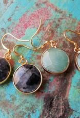De Maan Is Rond Sterling zilveren oorbellen met edelsteen