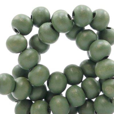 Houten kraal rond mat olijfgroen 6 mm (25x of streng)