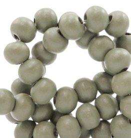 Houten kraal rond mat legergroen 6 mm (25x of streng)