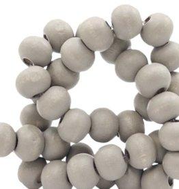Houten kraal rond mat lichtgrijs 6 mm (25x of streng)