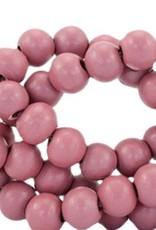 Houten kraal rond mat aubergine rood 6 mm (25x of streng)