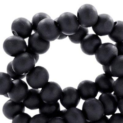 Houten kraal rond mat zwart 6 mm (25x of streng)