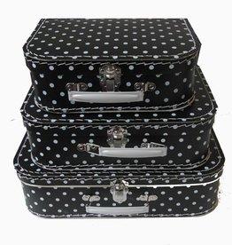Koffer zwart met witte stippen (set of los)