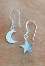 Sterling zilveren oorbellen maan en ster