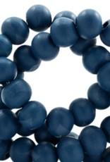 Houten kraal rond denimblue 6 mm (25x of streng)