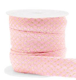 Elastisch lint Ibiza mermaid roze 15 mm (p/10 cm)