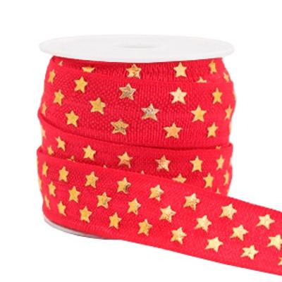 Elastisch lint Ibiza rood gouden sterren15 mm (p/10 cm)
