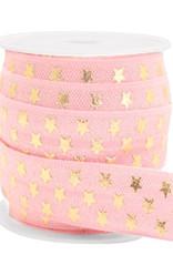 Elastisch lint Ibiza roze gouden sterren15 mm (p/10 cm