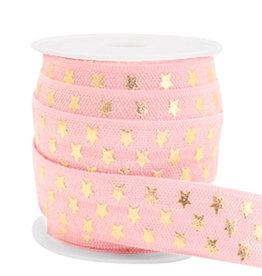 Elastisch lint Ibiza roze gouden sterren15 mm (p/10 cm)
