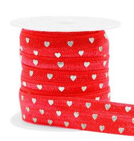 Elastisch lint Ibiza rood zilveren hartjes 15 mm (p/10 cm)