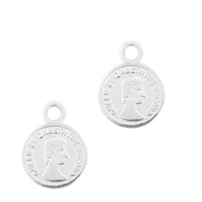 Bedel muntje 8 mm antiek zilver dq metaal  (1x)