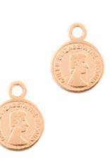 BBedel muntje 8 mm rose goud dq metaal  (1x)