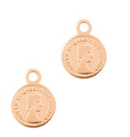 Bedel muntje 8 mm rose goud dq metaal  (1x)