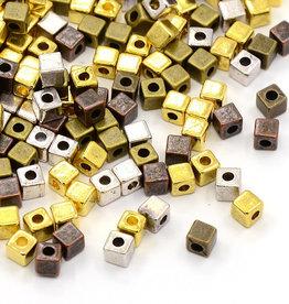 Kubuskralenmix metaal (15x)