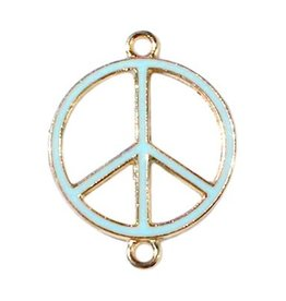 Tussenstuk peace goud / lichtblauw (1x)