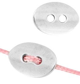 DQ metalen knoop ovaal antiek zilver (1x)