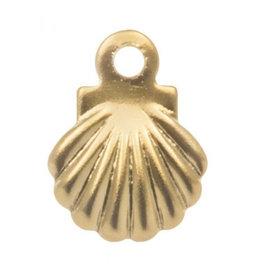 Rvs goud bedel mini schelp (1x)
