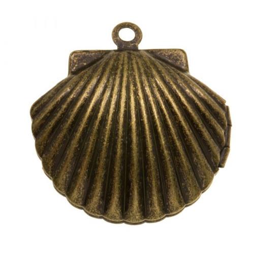 Bedel schelp metaal brons open & dicht (1x)