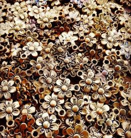 Bulk bedel bloem antiek goud (150x)