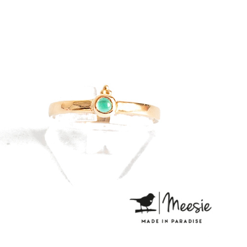 Meesie & Bintje Ring groene kwarts goud op sterling zilver