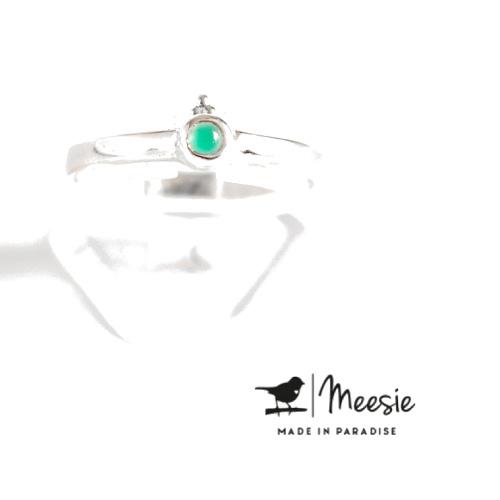 Meesie & Bintje Ring groene kwarts Sterling zilver