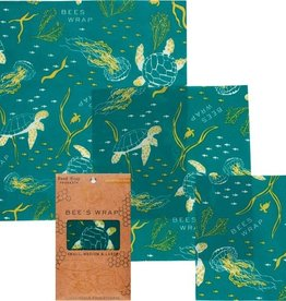 Bee's wrap Bee's wrap set van 3 -assorti  ocean