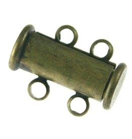 Magneet schuifslot met ogen brons (1x)